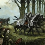 A picture of some Empire Knights being ambushed to illustrate the Warhammer Quest Dungeon Event entitled 'Abush!'.