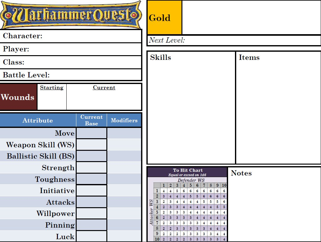 Warhammer Quest Character Sheet by LuigiX (PDF)